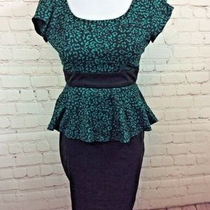 IZ Byer Peplum Dress Size 0 Green Animal Print